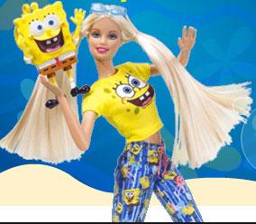 لعبة باربي تحب سبونج بوب barbie loves sponge bob