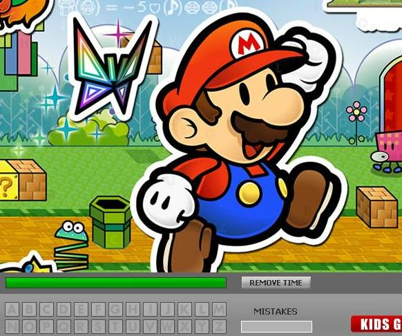 super mario hidden letters game