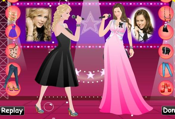 the game dress up hannah montana vs taylor swift