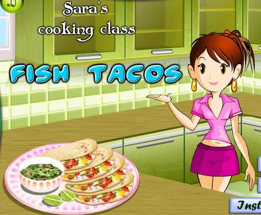 Sara cooking class fish tacos recipe game online for Fishing games for girls
