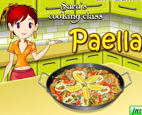 sara cooking class paella recipe game online