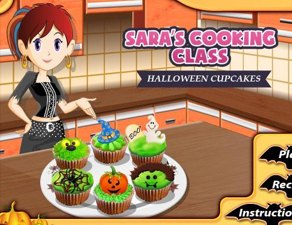 sara cooking class game halloween cupcakes recipe online