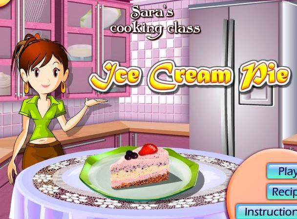 saras cooking class game ice cream pie recipe online