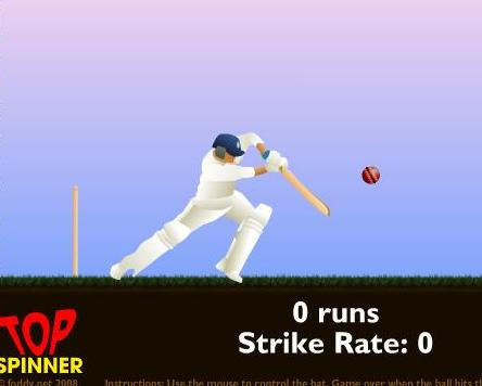 Gratis online toppen spinner cricket spill