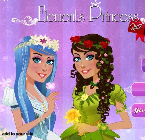 elements princess quiz free game for girls